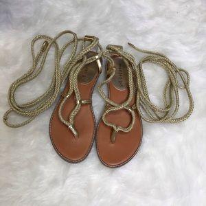 Madden Girl Gold Juliie Gladiator Sandals SZ 5